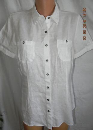 Льняная белая блуза -рубашка1