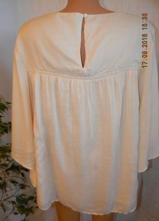 Нежная вискозная кремовая блуза с вышивкой большого размера3
