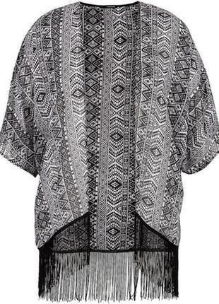 Кардиган-кимоно накидка atmosphere с бахромой с выделкой под велюр оверсайз
