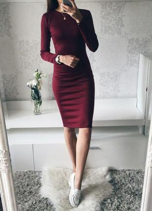 Новое платье миди марсала бордо обтягивающее есть размеры