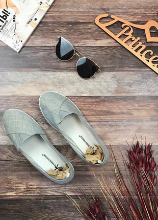 Практичные слипоны светло-серого цвета из легкого текстиля    sh0105    atm