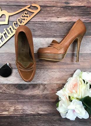 Женственные туфли-лодочки с высоким мыском светло-коричневого оттенка    sh0111    new look