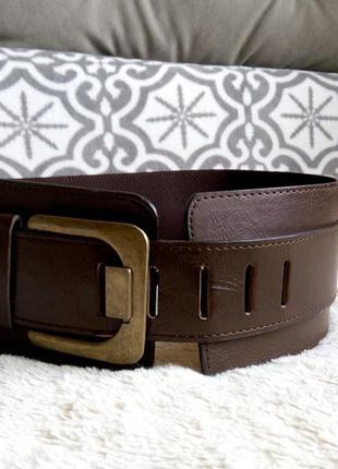 Кожаный широкий корсетный фирменный пояс ремень