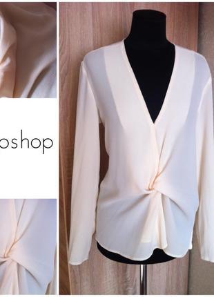 Блузка рубашка topshop светлая стильная размер 12