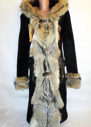 Шуба,шубка мутоновая ,натуральный мех мутон, -цельный волк -кожа-капюшон 44 р!