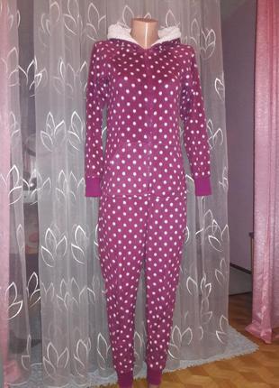 Пижама комбинезон кингуруми мех в горохи