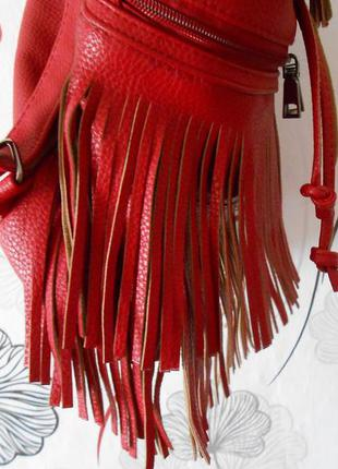 Рюкзак темно-красный с бахромой