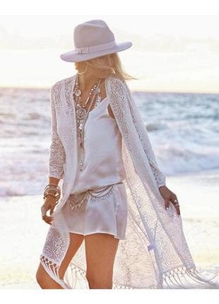 Пляжная новая накидка,туника с бахромой atmosphere блуза, белое кружево, размер l оверсайз.