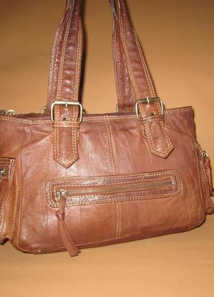 Кожаная сумка английского бренда topshop из натуральной кожи
