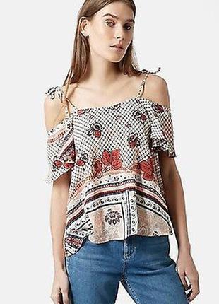 Блуза topshop  с открытыми плечами бохо кантри