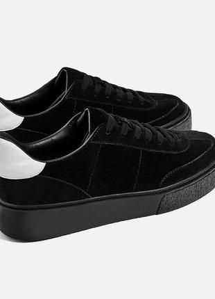 Кроссовки туфли  zara натуральная замша