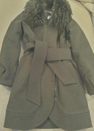 Пальто осень зима с натуральным мехом