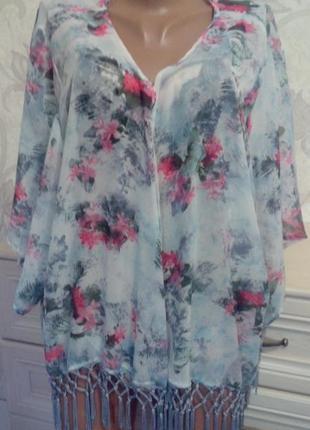 Пляжная новая накидка,туника с бахромой atmosphere блуза  размер l