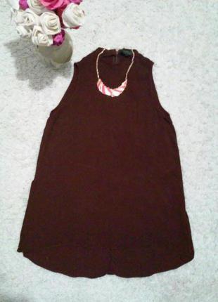 Ассиметричная удлиненная блуза цвета марсала. 100% вискоза