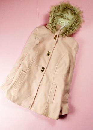 Atm нежно-розовое теплое пальто с мехом и утепленным капюшоном!