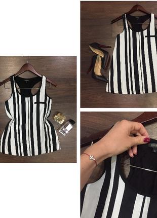 Cтильная черно белая полосатая майка /блуза / в вертикальную полоску / спереди легкая шифоновая ткан