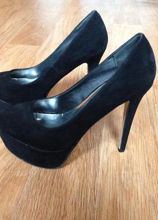Сексуальные замшевые туфли на шпильке и высокой платформе