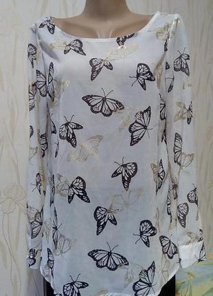 Стильная белая блуза с принтом-бабочки f&f.