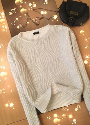 Трендовый свитер свободного кроя 100%коттон с металлическим напылением от f&f
