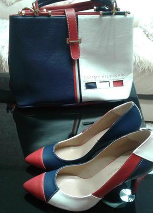 Комплект : сумка + туфли tommy hilfiger