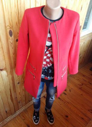 Кашемировое красное пальто h&m zara mango