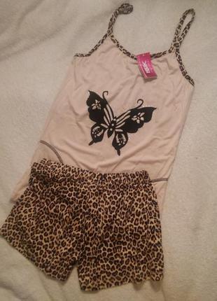 Трикотажная пижама в леопардовый принт