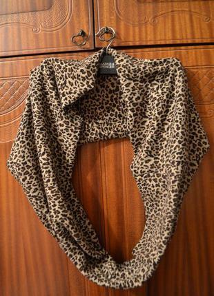 Женский леопардовый шарф снуд