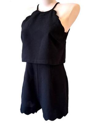 Ромпер комбинезон черный с волнистой каймой