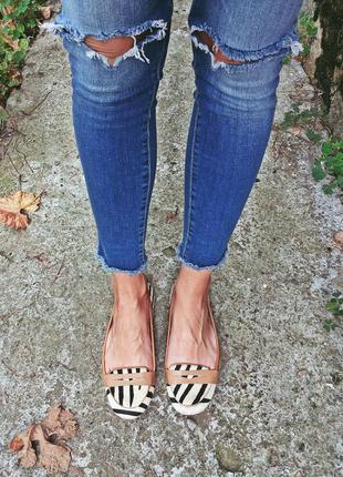 Кожаные туфли лоферы балетки next