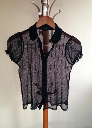 Блуза черная прозрачная шифон f&f, размер 14
