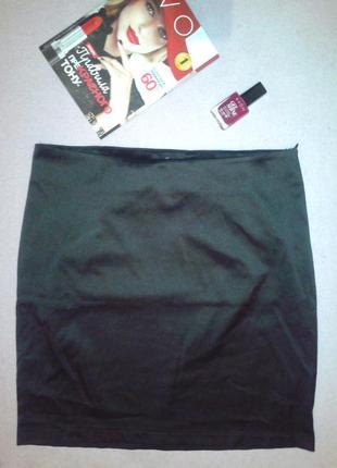 Чёрная атласная юбка oodji