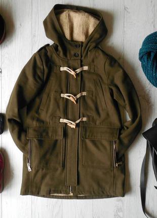 Шерстяное зимнее пальто дафл pull&bear