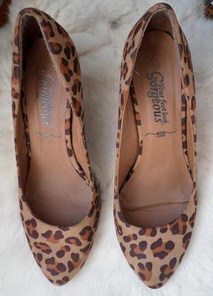 Леопардовые туфли на удобном каблуке 38 рр