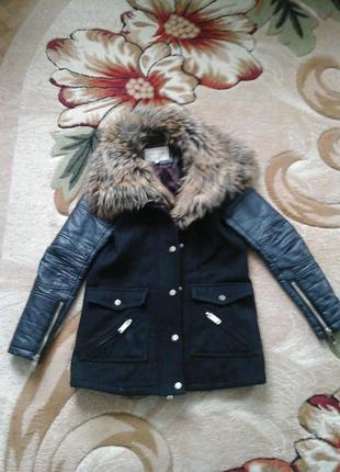 Зимняя кожаная куртка /пальто