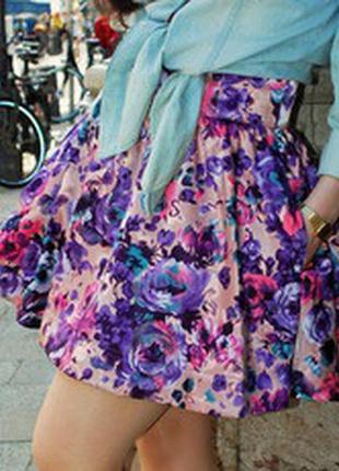 Яркая юбка с цветочным принтом h&m