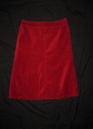 12-14 р-р, шикарная красная велюровая юбка миди