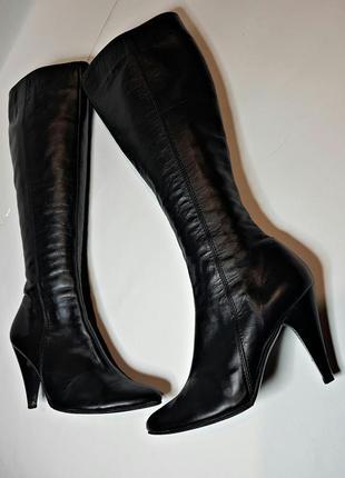 Стильные кожаные сапоги, гладкая черная кожа