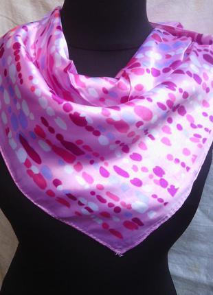 Шейный платок косынка розовая в наличии
