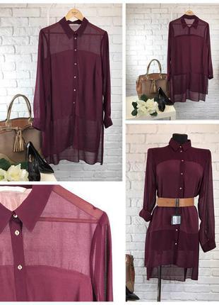 Остромодная блуза нестандартной длины в красивых винных тонах    bl0302    george