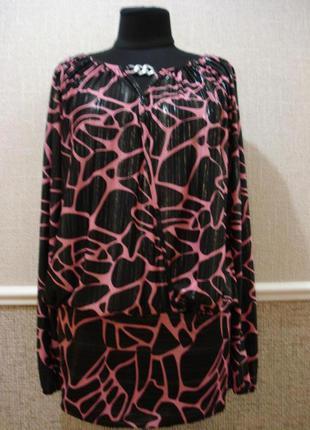 Трикотажное платье туника с длинным рукавом и принтом