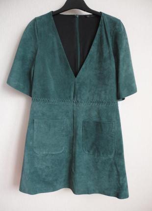 Замшевое платье изумрудного цвета  zara