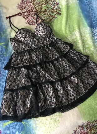Платье пудра с кружевом л-ххл