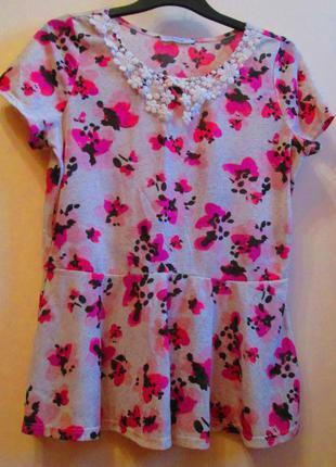 Очень красивая блуза george с баской воротник кружево размер 14