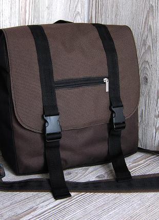 Коричневая сумка-почтальонка, сумка для ноутбука или планшета