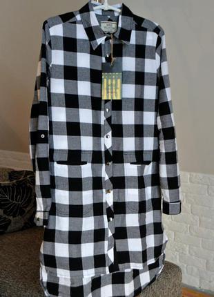 Стильне плаття-сорочка, плаття в клітинку з кишеньками, плаття з воротнічком, розмір м