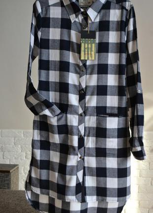 Стильне плаття-сорочка, плаття в клітинку, плаття з кишенями, плаття з воротнічком, розмір s