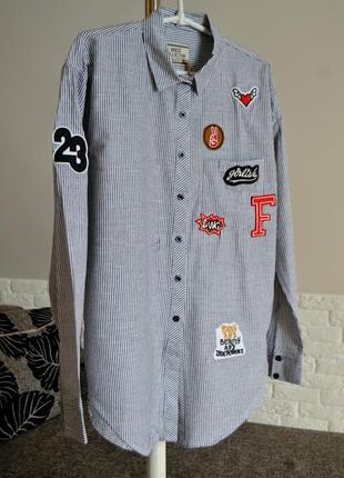 Стильна сорочка з нашивками, сорочка в полосочку, розмір s/m