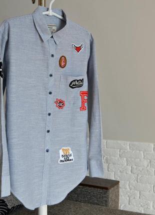 Стильна сорочка з нашивками, сорочка в полосочку, розмір l/xl