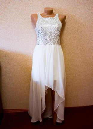 Белое платье шифон со шлейфом