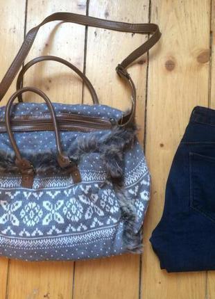 Модная новая вязаная сумка  принт